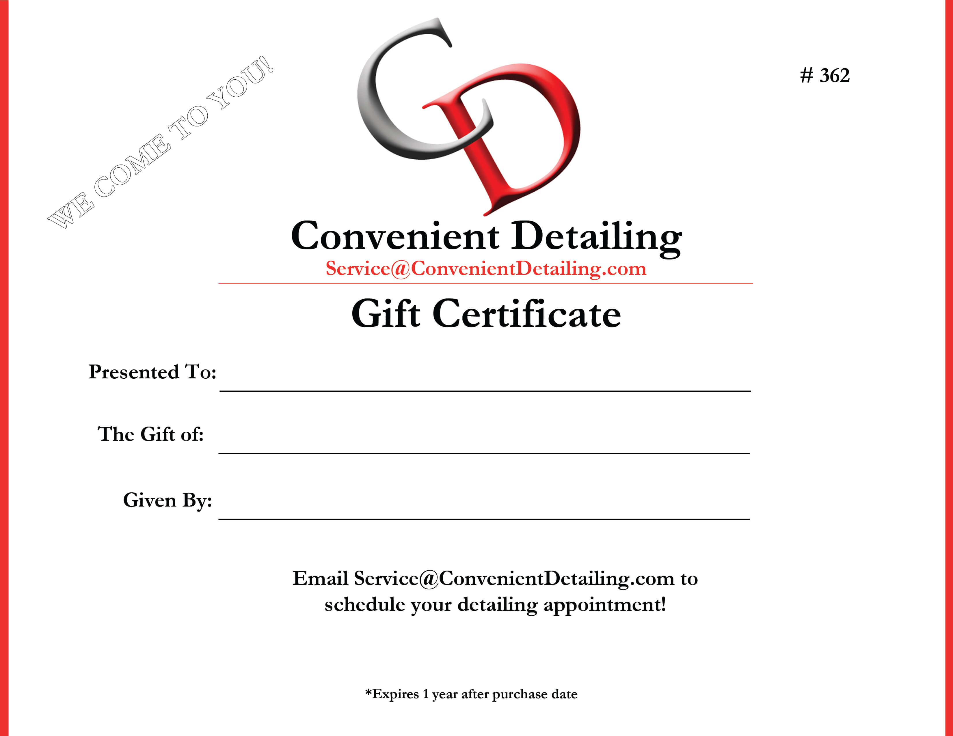 Auto Detailing Gift Certificate NJ